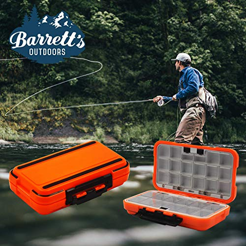 Barrett's Outdoors Small Tackle Box for Fly Fishing with 30 Adjustable Removable Tackle Box Organizer Waterproof Compartments. Great for Jewelry & Medicine Storage (Orange)