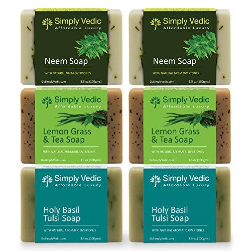 Simply Vedic 6-Pack Herbal Soap Bar Collection For Body, Hand, Face; Neem (2Pc), Lemongrass-Tea (2Pc), Holy Basil (2Pc). Vegan Cold Pressed Handmade For Men & Women (3.5 Oz. X 6)