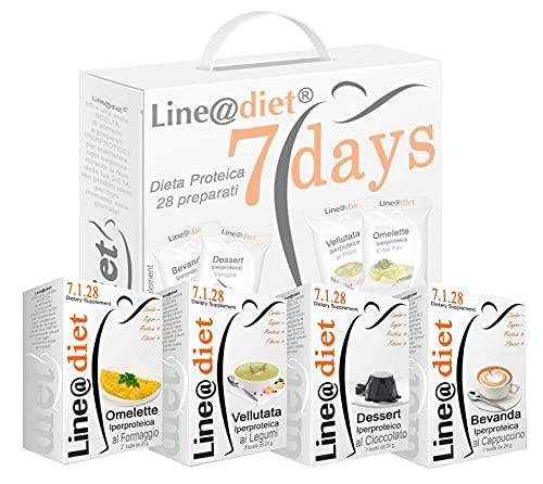 """DIETA PROTEICA Line@Diet! Alimenti Proteici in BAG COMPLETO per 7 Giorni: Opzione MISTO B= 28 preparati PROTEICI (buste proteiche) senza Carboidrati e senza Zuccheri, una dieta per """"PERDERE PESO"""" i pochi giorni, senza sentire la FAME! Una settimana completa di colazione, spuntino, pranzo e cena ...brucia grassi e TORNI SUBITO in FORMA!"""
