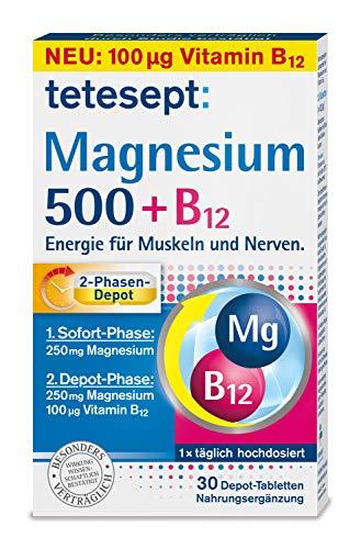 tetesept Magnesium 500 + B12 Depot - hochdosiert – Magnesium und Vitamin B12 Kombipräparat mit 2-Phasen-Depot - Energie für Muskeln und Nerven – 5 x 30 Tabletten [Nahrungsergänzungsmittel]