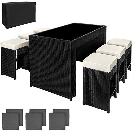 TecTake Poly Rattan Aluminium Bar Set mit 6 Barhocker + 2 Bezugsets + Schutzhülle, Edelstahlschrauben - Diverse Farben - (Schwarz | Nr. 401181)