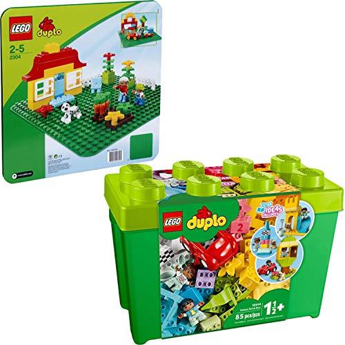 Lego® DUPLO® 2er Set 2304 10914 Grüne Bauplatte + Deluxe Steinebox