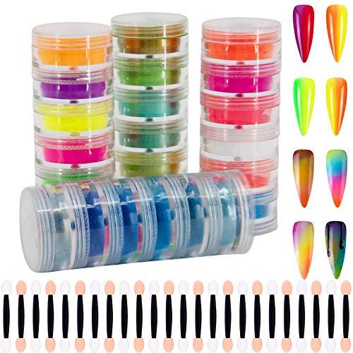 Duufin 24 Stück Pigment Nagel Pulver, Bunt Nagelpulver Nail Powder Nagel Glitter Nagelpuder für DIY Nagel Kunst Dekoration