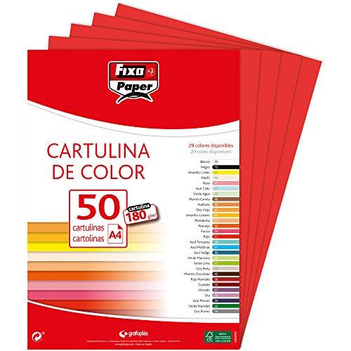 Fixo Paper 11110351 – Paquete de cartulinas A4 – 50 unidades color rojo, 180g