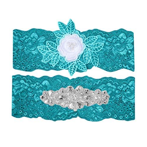AfazfaLace Garter Set Wedding Garter Belt Flower Floral Design Garter for Bride (Green)