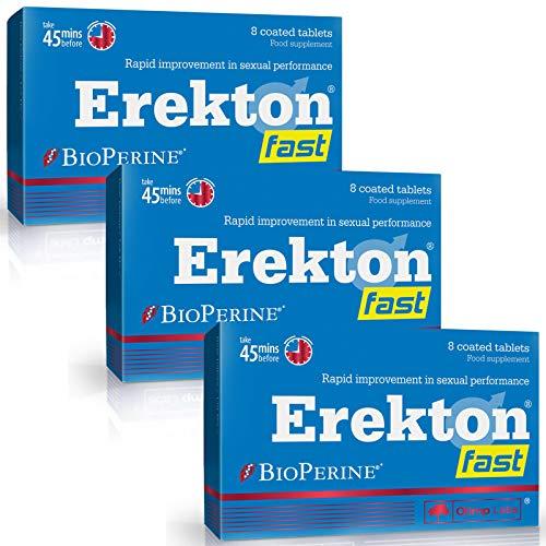 EREKTON FAST | Pilules de libido pour hommes | Juste 45 minutes avant | Action instantanée | Amplificateur efficace pour la performance | L-Arginine | L-Citrulline (24 comprimés)