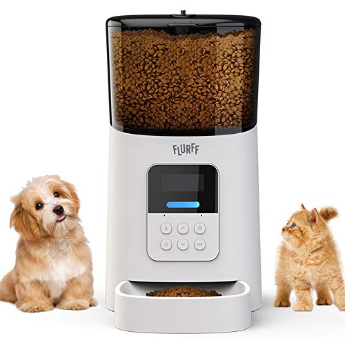 FLURFF Automatic Cat Feeder, Auto Dog Food Dispenser, Small Animal Automatic Feeders with Anti-Clog Design, Timer Programmable, Voice Recorder & Portion Control for Cat & Dog Lover (6L, 1-6 Meals).