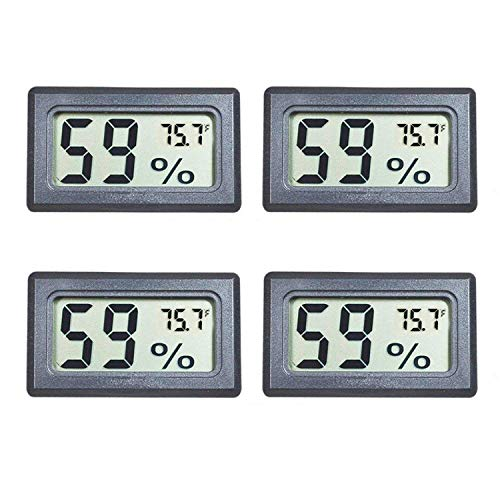 Veanic 4-Pack Mini Digital Electronic Temperature Humidity Meters Gauge Indoor Thermometer Hygrometer LCD Display Fahrenheit (℉) for Humidors, Greenhouse, Garden, Cellar, Fridge, Closet