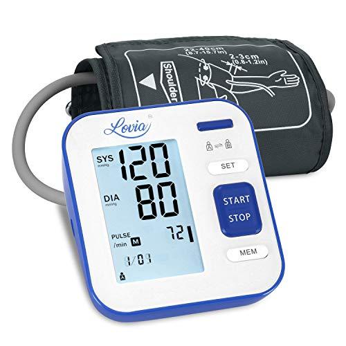 Digitales Automatisches Blutdruckmessgerät für Oberarm - Blutdruck messgeräte für Blutdruck und Herzfrequenz, 2x120 Speicherkapazität, Hintergrundbeleuchtung Großes LCD-Display