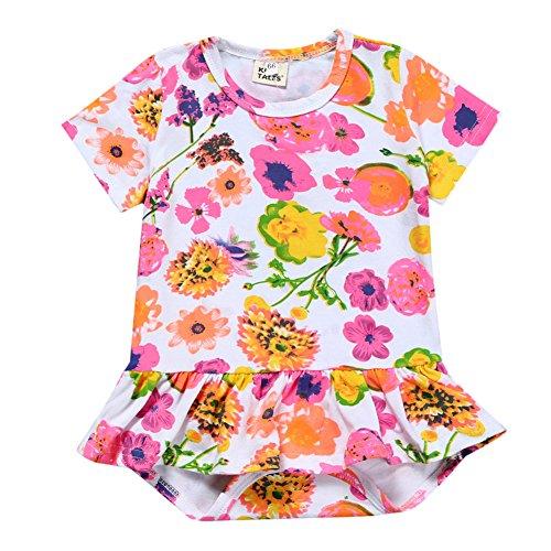 ETbotu baby meisje kleding, baby kleding - Baby Meisje Katoen Korte mouwen Romper Stijlvolle Dun afdrukken Katoen Jumpsuits Jurk Gift