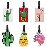 Etiquetas para Equipaje 6 Piezas Etiquetas de Equipaje de Viaje PVC Etiquetas de Identificación de la Maleta con Diferentes Patrón para día Festivo, Maletas, Mochila