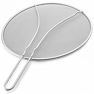Premium 13  Splatter Screen For Frying Pan by Bellemain, Engineered Ultra Fine Mesh Weave Stops 99% of Splatter – Heavy Duty Food Grade Splatter Guard