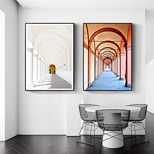 Goth Church Corridor Europe affiches en prints Marokko muurkunst canvas schilderij wandafbeeldingen voor woonkamerdecoratie (50x70cmx2 / geen lijst)