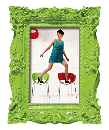 Kare Bilderrahmen Barock Style für Fotos im Format 10 x 15 cm, grün, Retro- Kitsch- Design im Vintage-Stil, Maße: ca. 17 x 22 x 3,5 cm, Material: Polyresin, Fotorahmen zum Aufstellen oder Aufhängen