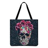 haiqingqin Bolsa de lona de calavera, bolsas de hombro, bolsos de diablo, bolsa de moda para Halloween, bolsa de compras resistente para el aire libre.
