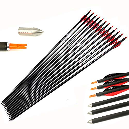 32' Carbon Arrows 250 Spine Carbon Arrows Hunting Arrows 250 Spine ID 9.8mm Field Tips for 65-80Lb Compound Recurve Bow Longbow Archery Target Practice 12 Pack