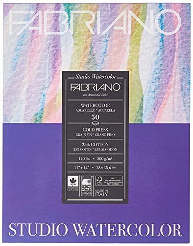 Fabriano Studio Cold Press Watercolor Pad, 11 x 14, White
