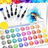 36 Colors Watercolor Paint Set with 6 Watercolor Brushes pen for Watercolor Painting, 20 pcs Watercolor Paper pad(A4) and 1 pcs Art painting Sponge Paint Brush Set for Watercolors Artists, Watercolors Paints Kids, Watercolors Adult Beginners, Craft Supplies & Materials