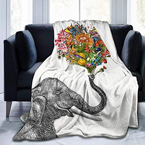 XCNGG couvertures de literie couvertures de sieste couvertures de climatisation Elephant Bohemian Print Design1 Sherpa Blanket Comfy Premium Summer Air Conditioning Throw Blanket Comfortable Noon Brea