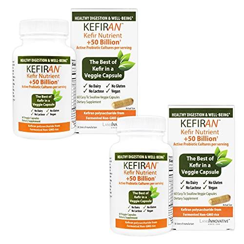 Lane Innovative - Kefiran, Kefir Nutrient + 50 Billion Active Probiotic Cultures, Supports Optimal Digestive Health (60 Veggie Caps) | 2-Pack