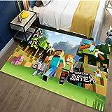 LSXA Alfombra Habitación para Niños Niño Niña Dibujos Animados Juego De Minecraft Estera Dormitorio Sala De Estar Cocina Sala De Estudio Decoración Familiar Alfombra Rectángulo Alfombras De Anime