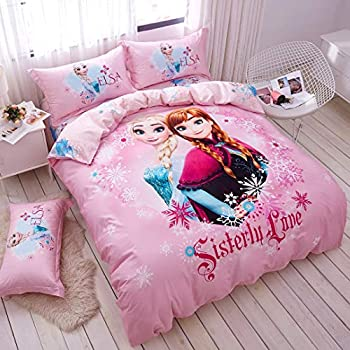 Casa 100% Cotton Kids Bedding Set Girls Frozen Elsa and Anna Princesses Pink Duvet Cover and Pillow Cases and Fitted Sheet,4 Pieces,Full