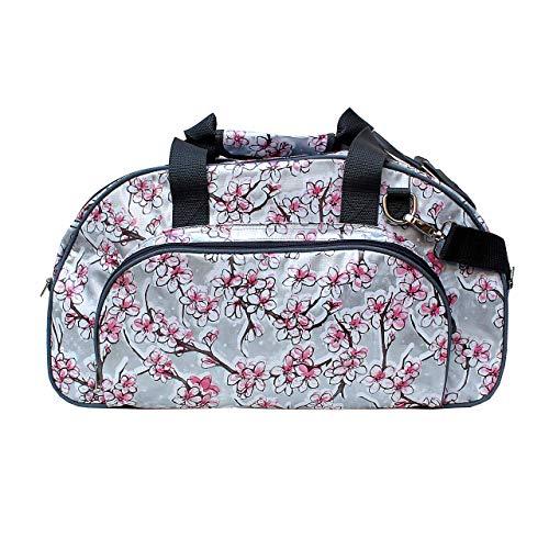 IKURI Weekender Wasserdicht - Sporttasche Saunatasche Schwimmtaschen Reisetasche Handgepäck für Reise am Wochenende Duffel Daybag - Design Hanami Silber