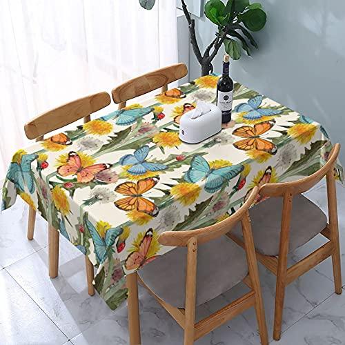 XIANGYANG Mantel Rectangular con diseño de Mariposas y Dientes de león, 54 x 72, Impermeable, Lavable, Reutilizable, para Mesa, para Comedor, Cocina, Picnic, decoración del hogar