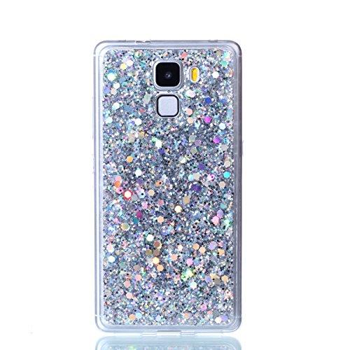 Kompatibel mit Huawei Honor 7 Hülle,Glänzend Bling Glitzer Diamant Muster TPU Silikon Handy Hülle Tasche Silikon Case Durchsichtig Handyhülle Etui Case Cover Schutzhülle für Huawei Honor 7,Silber - 2