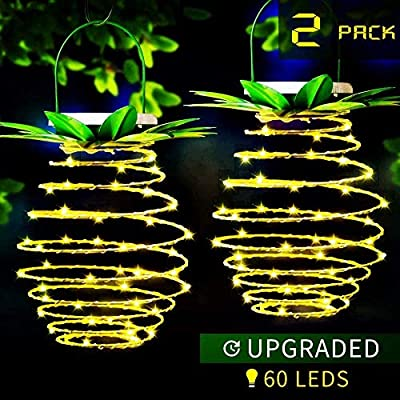 MZD8391 2Pack 60LED Pineapple Solar Lantern Lights Outdoor, Waterproof Solar Landscape Spotlight, Dusk To Dawn Sensor Solar Lantern For Yard Garden Driveway Porch Walkway Patio, Warm White (UPGRADED)