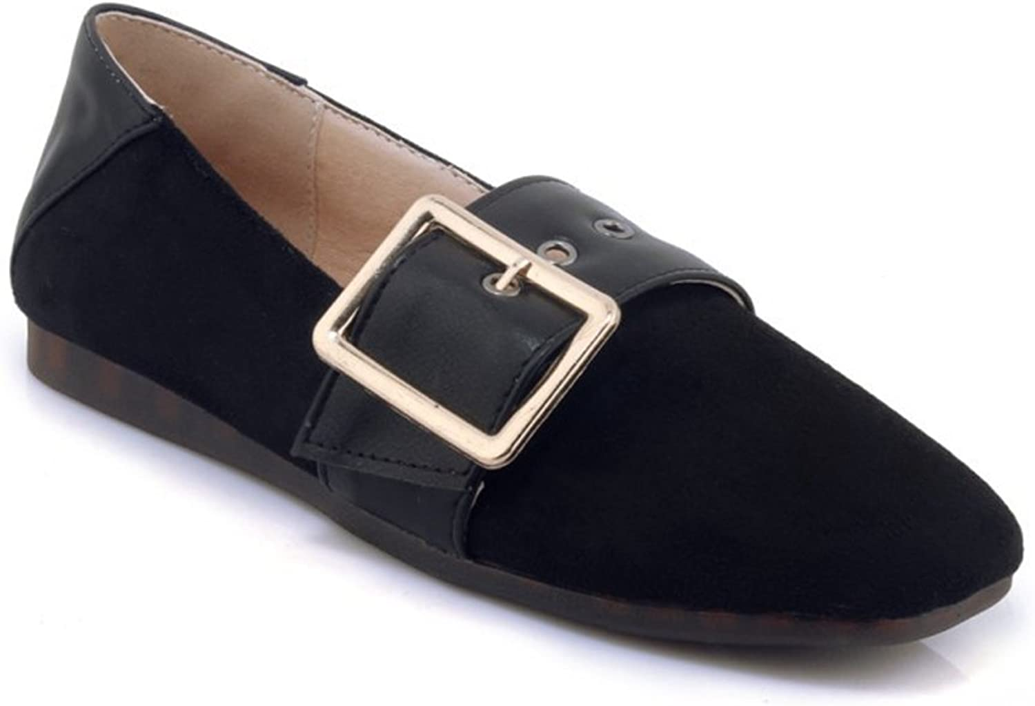 Women's Casual Ballet Flats Fashion Buckle Dress Walking shoes Square Head Slip On Loafers