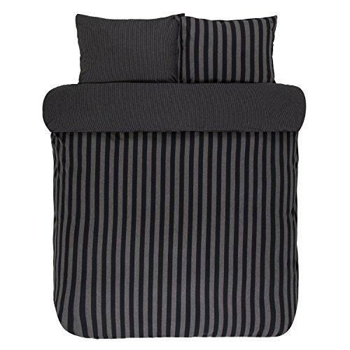 Marc O´Polo Classic Winter Stripe Flanell Bettwäsche Farbe Anthracite Größe 135x200 80x80