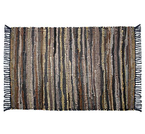 Cotton Craft Leather Chindi Rug 2x3 Feet - Tan Multi - Hand Woven & Hand Stitched - Strips of Genuine Leather are Woven by Hand to get This Attractive Artisan Look - Fully Reversible