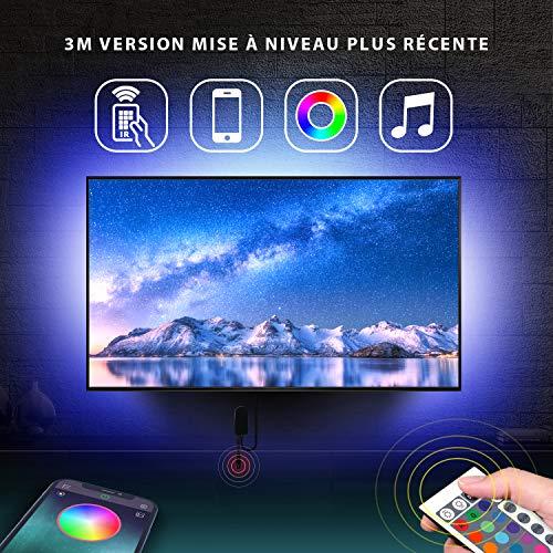 LED Strip 3m, LED TV Hintergrundbeleuchtung geeignet für 40-60 Zoll Fernseher und PC, USB LED Streifen mit App-Steuerung und IR Fernbedienung, RGB, USB-Betrieb