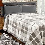 Poyet Motte Rivoli Solid 400GSM 100% Virgin Wool Blanket, Medium/Heavy Weight, Machine Washable (Grey Natural Plaid, Full/Queen Size)