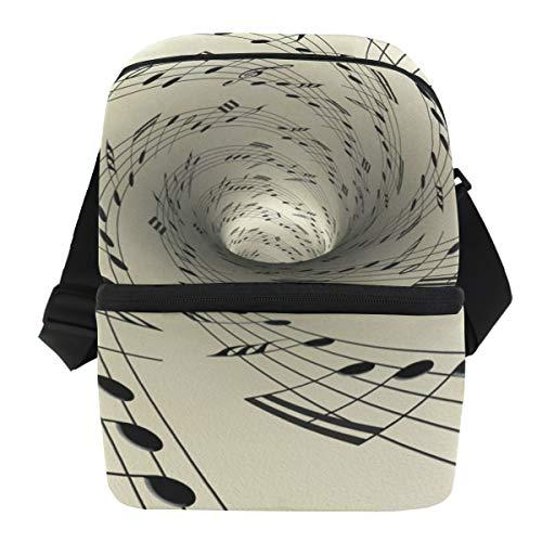 Picknick Ijs Pack schouderriem koelbox box lunch tas draagbare mannen muziek notities op oud vintage papier