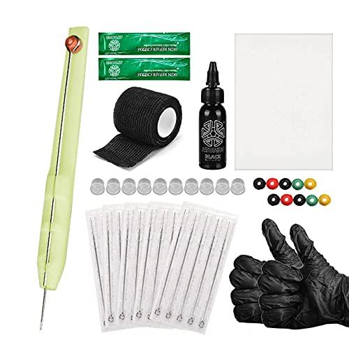 Kit de tatouage poke et bâton à la main Fourniture de tatouage bricolage Gants Kit d'aiguilles de tatouage 1RL / 3RL / 5RL / 7RL / 9RL Crème de réparation de tatouage de la peau pratique