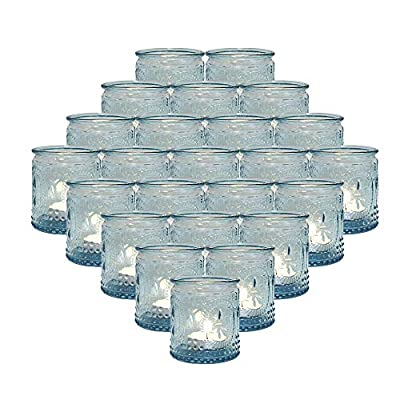 """MICROSUN 24-Packs Blue Glass Vintage Tea Light Candle Holders, Tealight Votive Holder for Table Centerpieces, Wedding Prom,Party, Home Decor, 2.28""""D x 2.75""""H"""