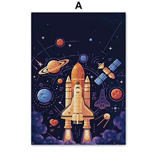 Simayi Planeta Espacial Cohete Número De Letra Cartel De Jardín De Infantes Lienzo Pintura Carteles E Impresiones Cuadros De Pared Decoración De Habitación De Niños 40X50Cm Ig-3436