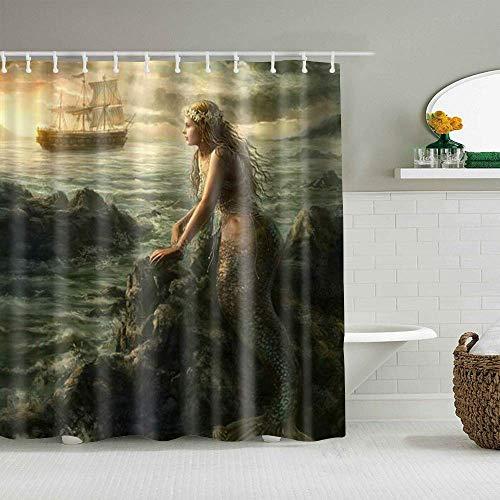 N\A Duschvorhang Meerjungfrau Prinzessin Rocks Segel Schöne Meerjungfrau Dark Ocean wasserdichte Badeinlagen Haken enthalten - Badezimmer Dekorative Ideen Polyester Stoff Zubehör