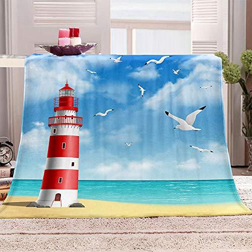 LIGAHUI Flanelldecke Kuscheldecke Blauer Leuchtturm Flanell Decke Tagesdecke Wohndecke Mit Kaschmir Hohe Farbechtheit Und Kein Haarausfall 150x200 cm