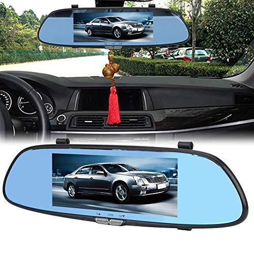 Jadpes fietsrecorder 7 inch touchscreen scherm, 7 inch 1080P HD auto DVR dubbele lens camera achteruitkijkspiegel rijden van videorecorder 's nachts voor auto's en vrachtwagens