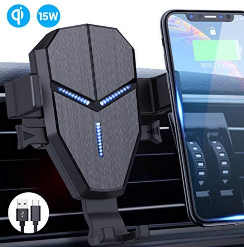Qi Cargador Inalámbrico Coche,Avolare Carga Rápida Soporte Móvil Automático 15W LG,10W Samsung S10/S10+/S9/S9+/S8/S8+/s7,7.5W iPhone 11/11 Pro/11Pro Max/XS/XS Max/XR/X/8/8 Plus,5W con Cable USB C 0,8m