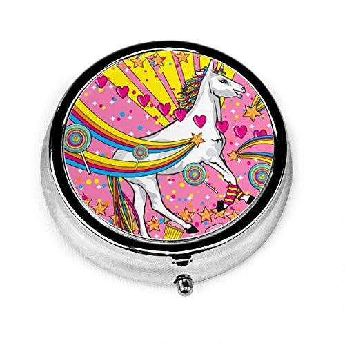 Preisvergleich Produktbild Einhörner lieben niedliche rosa Cartoon Herz Vintage Neuheit Runde Pille Box Tasche Medizin Tablette Halter Organizer Fall für Geldbörse