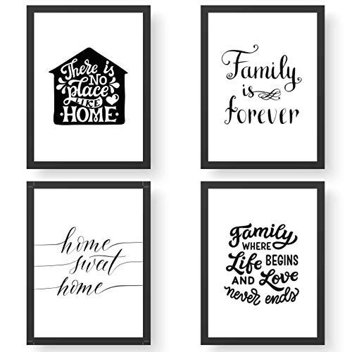 Papierdrachen 4 Premium Poster DIN A4 | Bilder für Küche und Wohnzimmer - schwarz-weiß - Home & Family - hochwertige ungerahmte Kunstdrucke mit Spruch | Dekoration | Wandbild