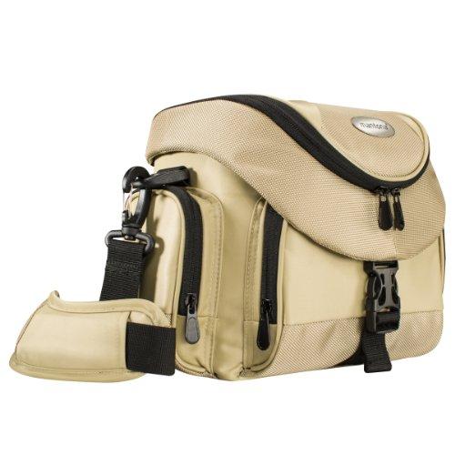 Mantona Premium DSLR-Kameratasche (inkl. Schnellzugriff, Staubschutz, gepolsteter Tragegurt und Zubehörfach) sand/schwarz