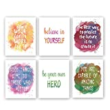 Watercolor Inspirational Quote Art Print,Colorful Motivational Words & Saying Wall Poster Painting,Set Of 6(8'X10',Unframed) Phrases Canvas Wall Art For Classroom Office Home Decor