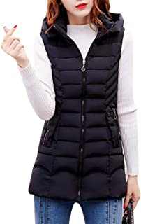 Women Winter Warm Hooded Coat Thickened Long Down Vest Jacket
