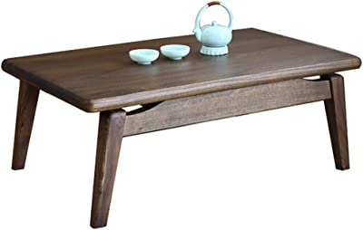Solid Wood Table Living Room Low Table Bedroom Table Japanese Tea Table Balcony Table (Color : Brown, Size : 80x50x30cm)