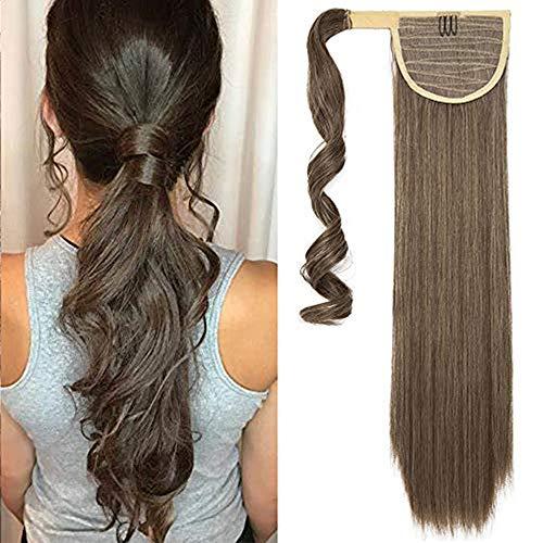 Clip in Pferdeschwanz Zopf Extensions Ponytail Extensions Haarteil wie Echthaar Weich Glatt Haarverlängerung 23